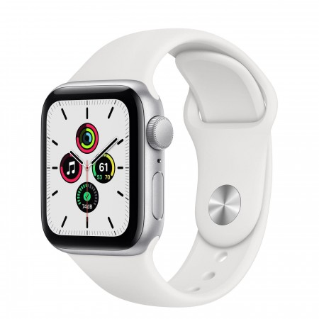 Apple Watch SE 40mm Silver Aluminum Case with White Sport Band (MYDM2)