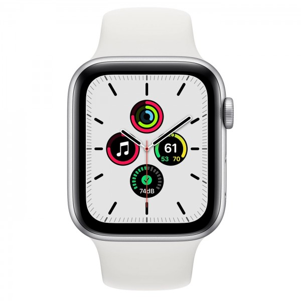 Apple Watch SE 44mm Silver Aluminum Case with White Sport Band (MYDQ2)