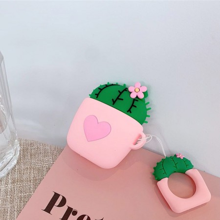 Airpods Cartoon Soft Case (Pink Flowerpot)