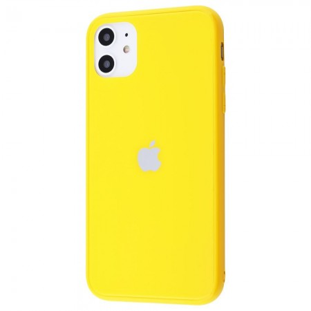 Чехол Glass iPhone case Colorful на iPhone 11 (Yellow)