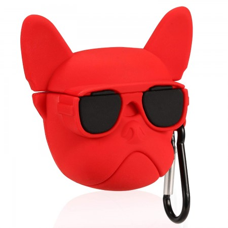 Airpods Cartoon Soft Case (Red Bulldog)
