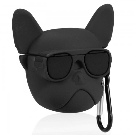 Airpods Cartoon Soft Case (Black Bulldog)
