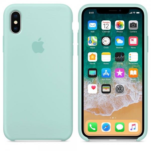 Silicone case на iPhone X/Xs (Marine Green)