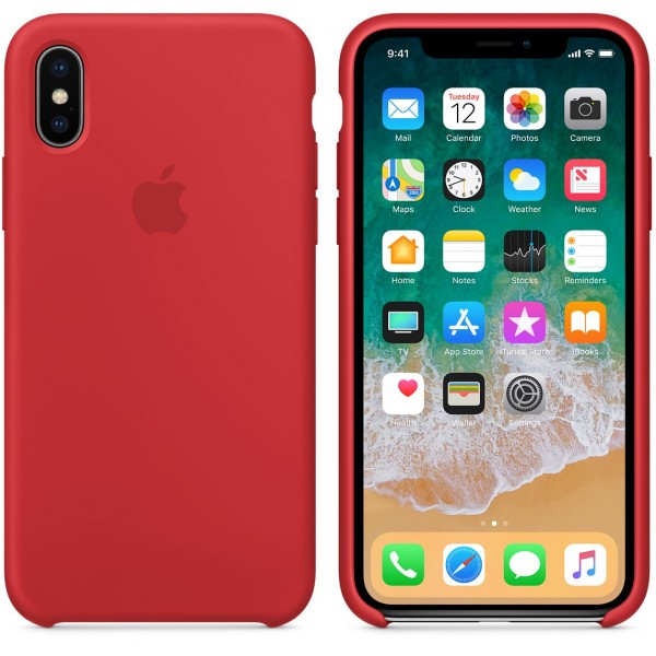 Silicone case на iPhone X/Xs (Red)