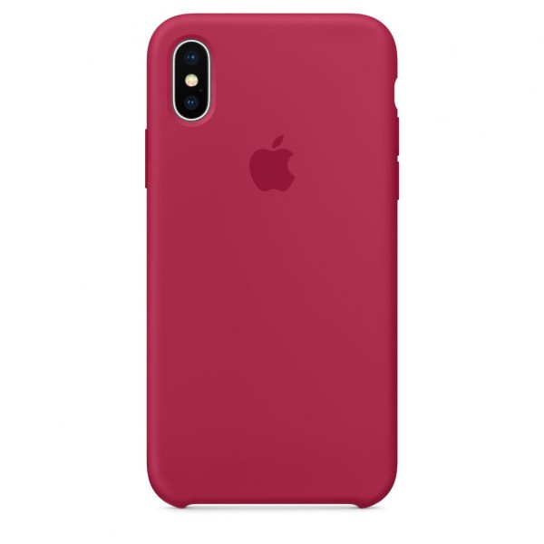 Silicone case на iPhone X/Xs (Rose Red)