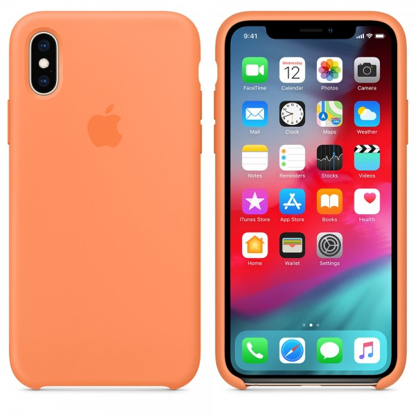 Silicone case на iPhone X/Xs (Papaya)