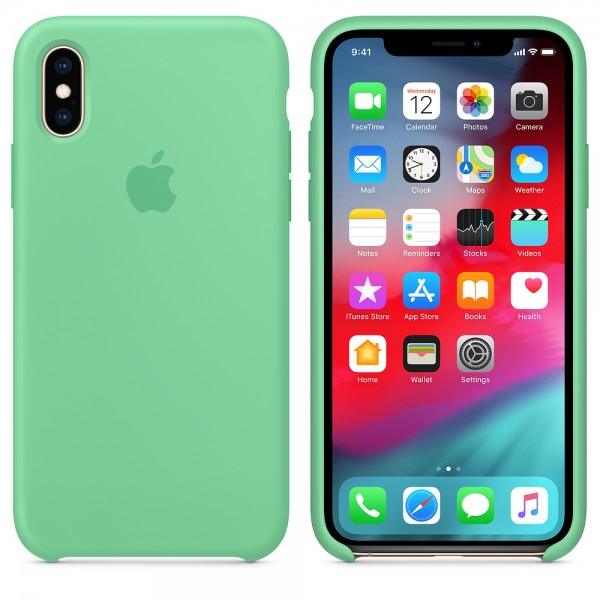 Silicone case на iPhone X/Xs (Spearmint)