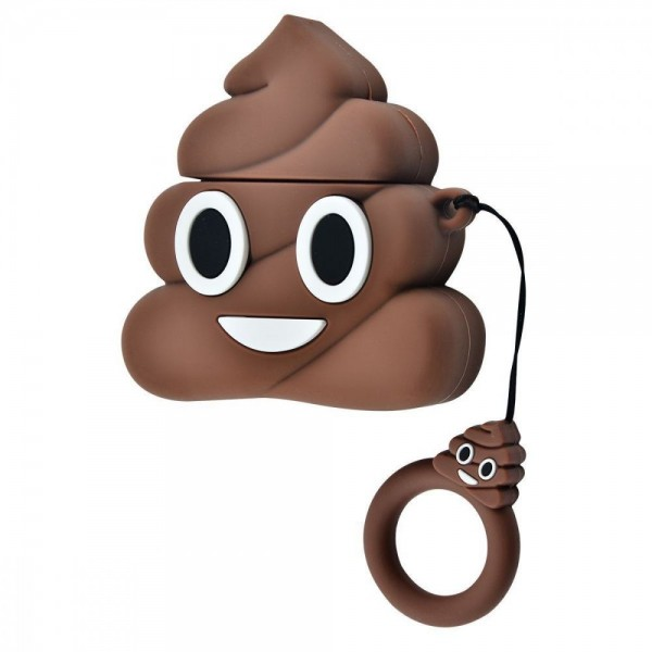 Airpods Cartoon Soft Case (Brown Turd Smile)